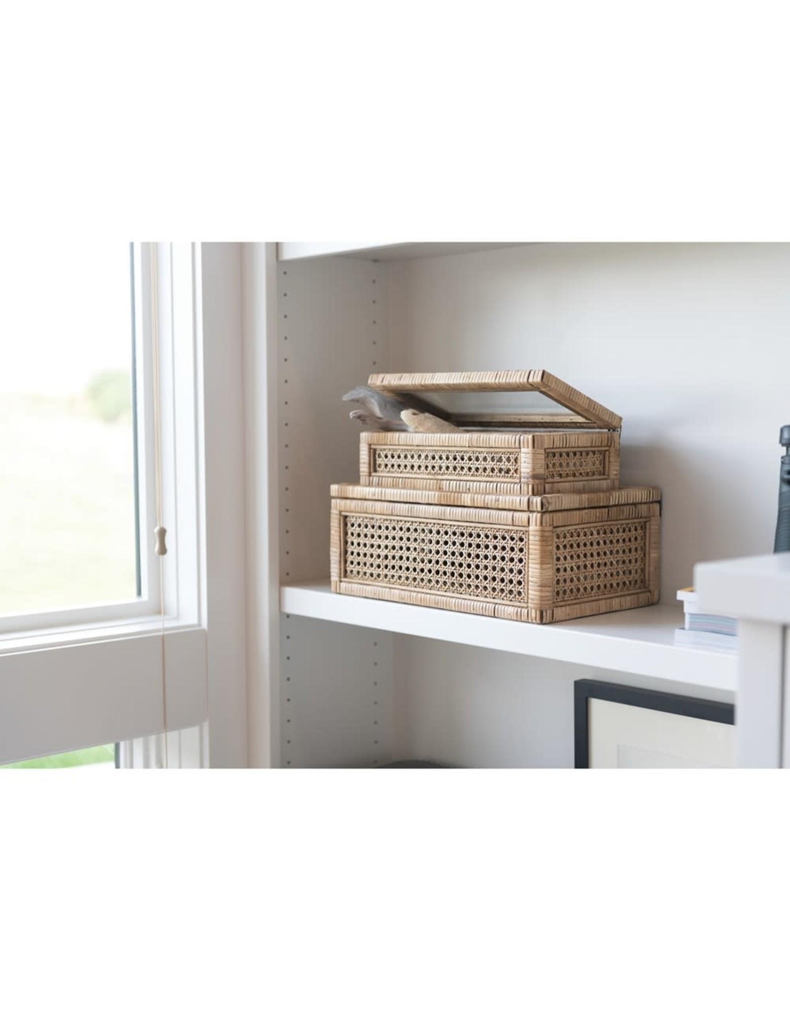 Oak + Arrow Interiors Woven Rattan & Wood Display Box - Small