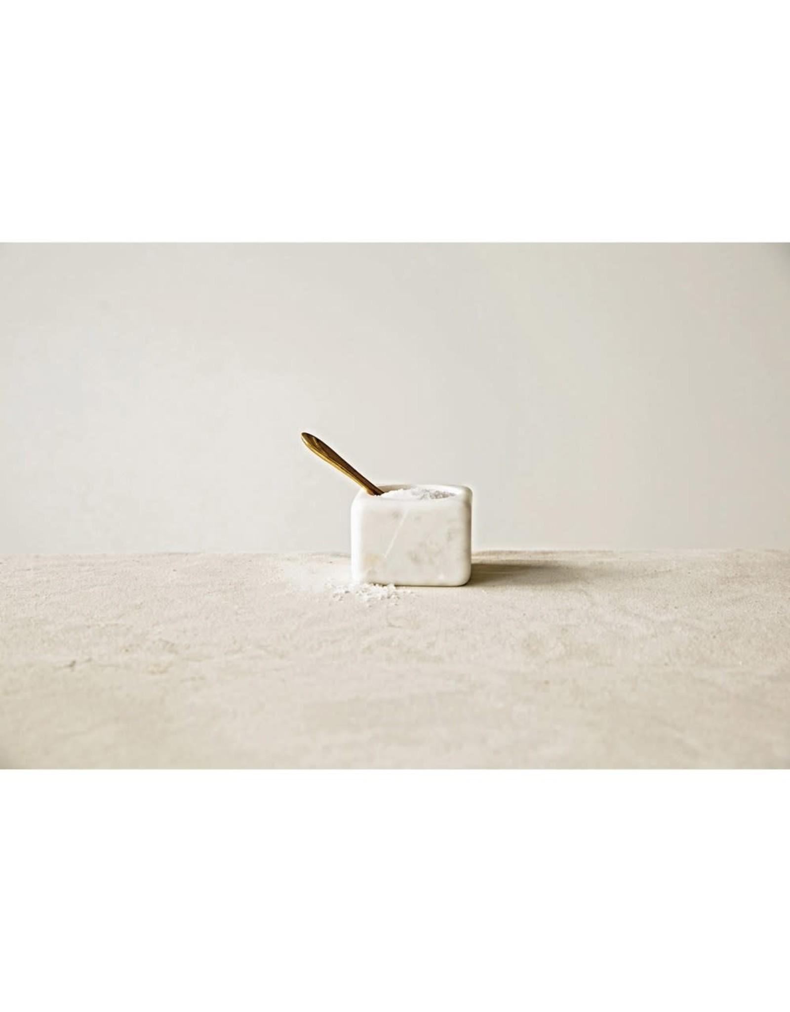 Oak + Arrow Interiors White Marble Bowl w/ Brass Spoon