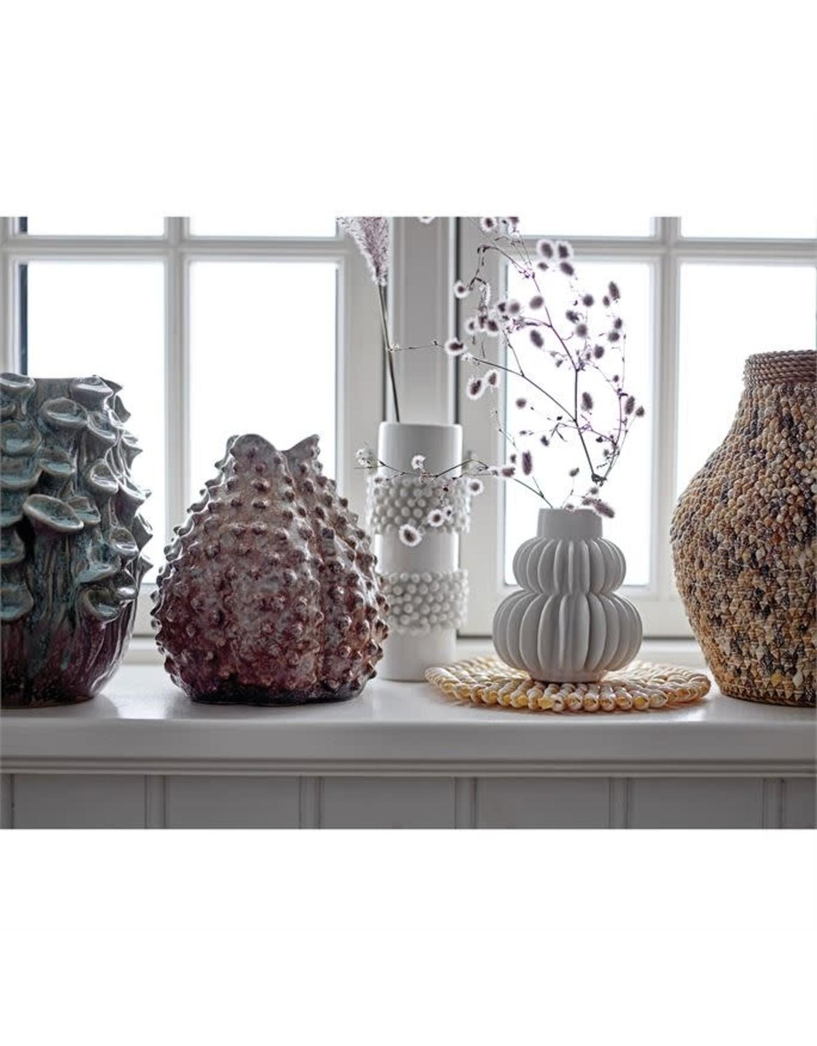 Handmade Pleated Stoneware Vase, White