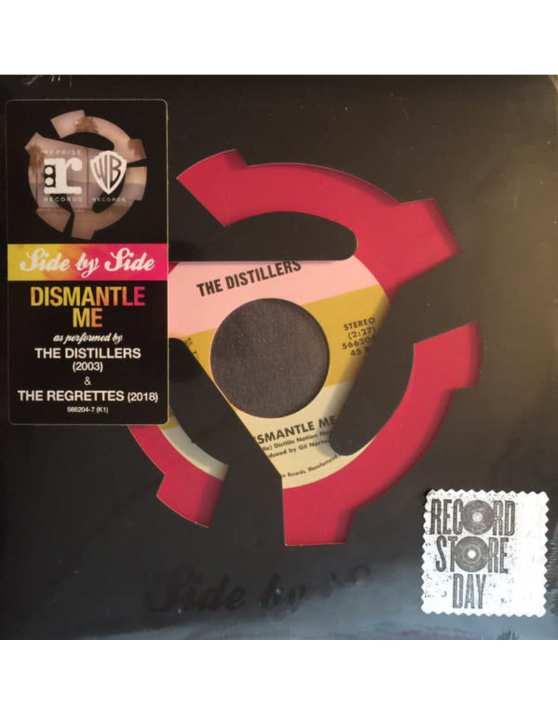 """RK/IN The Distillers / The Regrettes  – Dismantle Me 7"""" [RSD2018], Limited Edition, Pink Orange Swirl"""