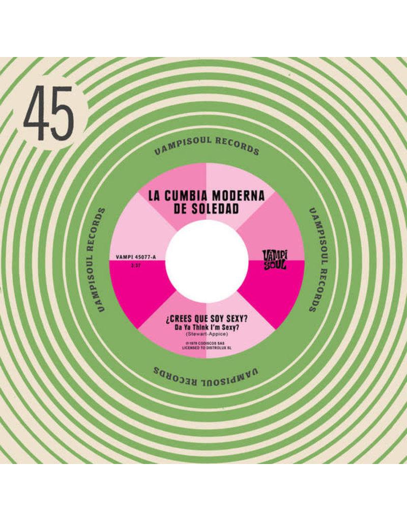 "La Cumbia Moderna De Soledad / Machuca Cumbia – Crees Que Soy Sexy? Da Ya Think I'm Sexy? / Staying Alive 7"""