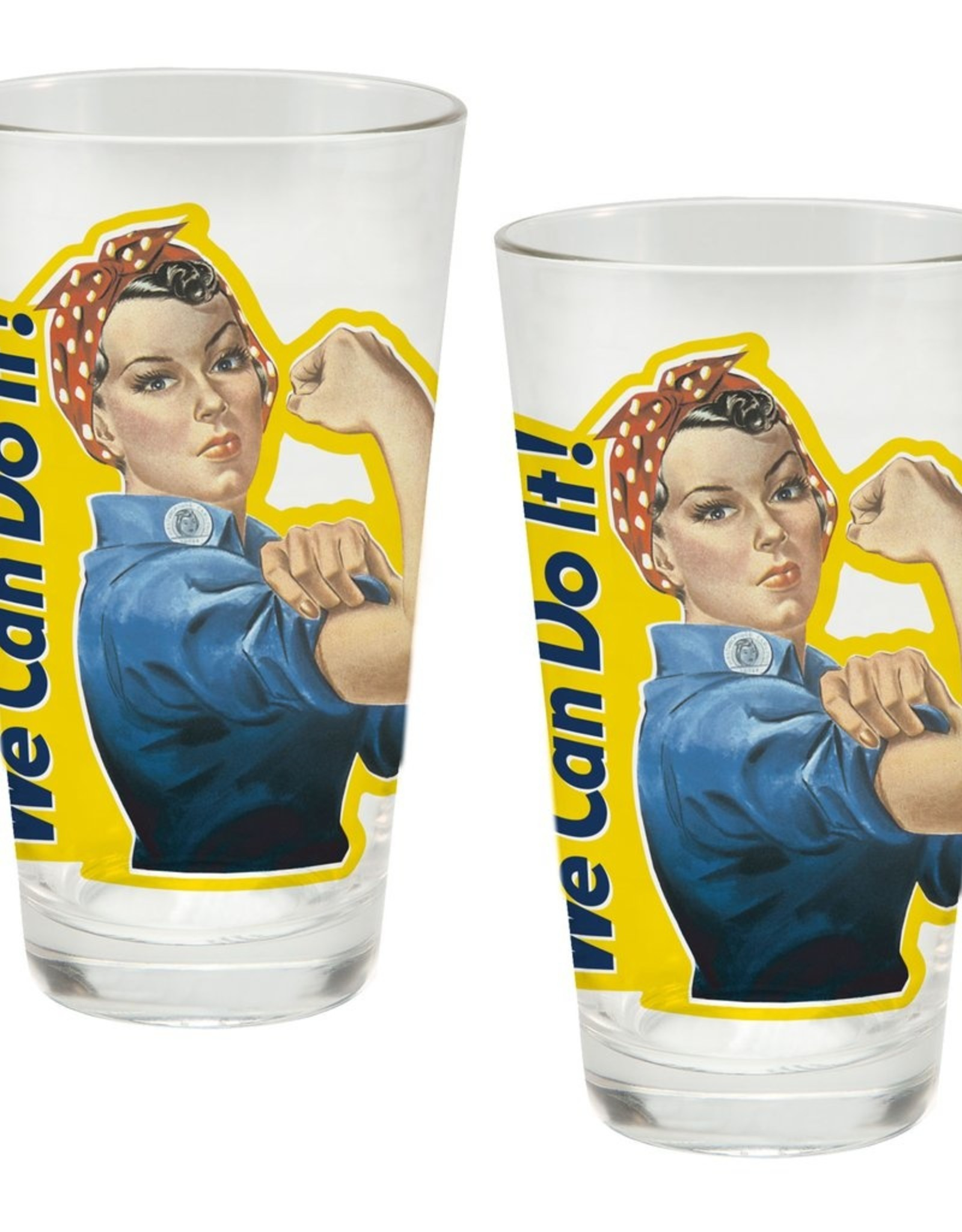 Vandor Rosie The Riveter Glass Set 2 pc 16 oz.