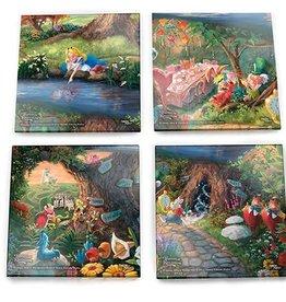 Alice In Wonderland Glass Coaster Set