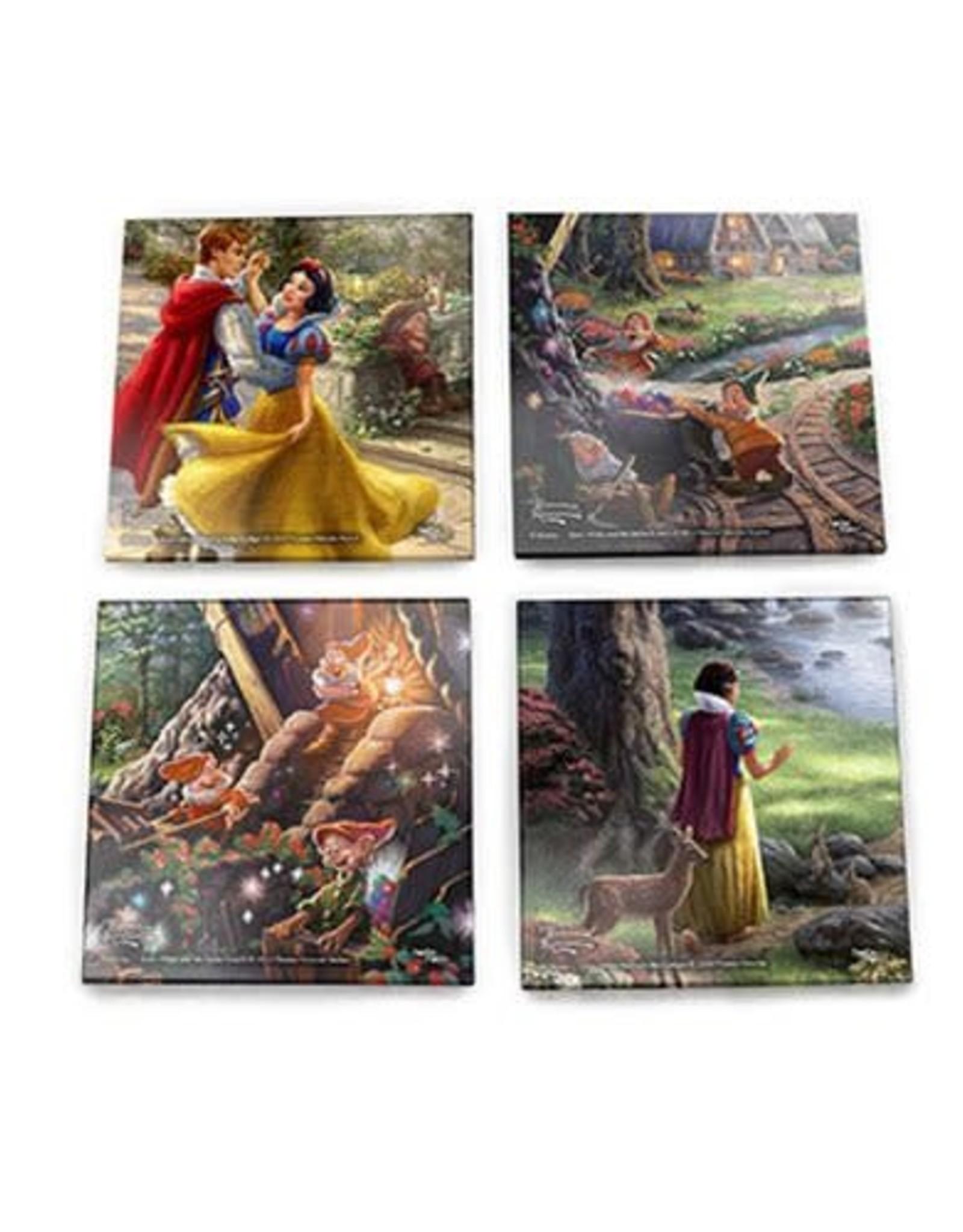 Snow White Thomas Kinkade Glass Coaster Set