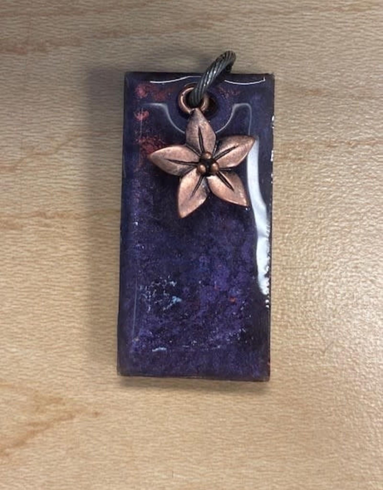 Pretty Strong Purple Marble Flower Pendant