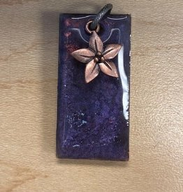 Pretty Strong Purple Marble Flower Pendant