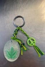 Pretty Strong Peace & Pot Leaf Key Chain