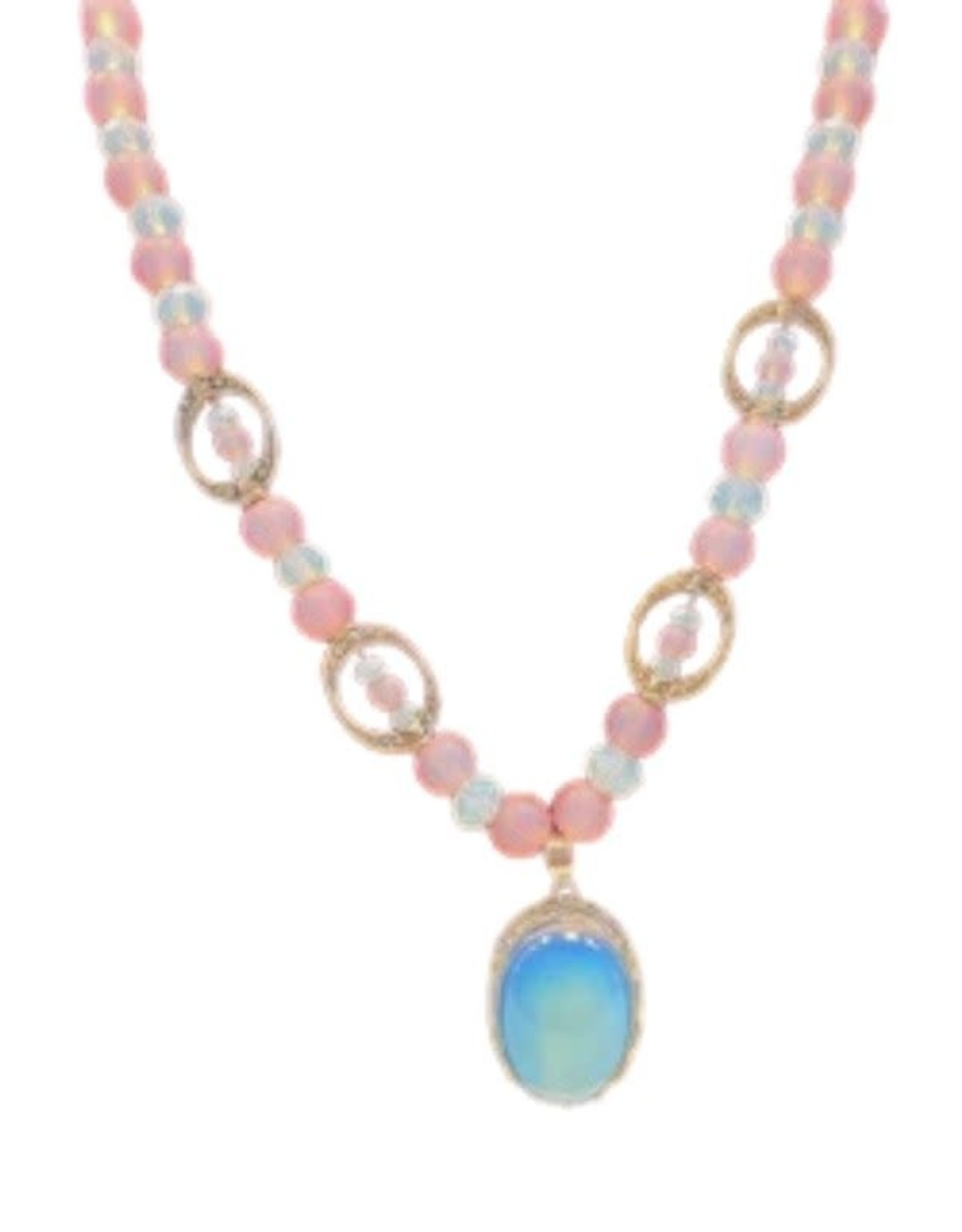 Pretty Strong Pink Beaded Necklace