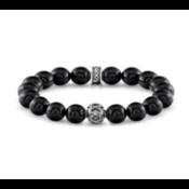 Room 101 Room 101 Bead Bracelet 10 mm Agate W/ Sterling Silver Skulls Bead & Brand Cuff