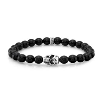 Room 101 Room 101 Bead Bracelet 6 mm Agate Bead Bracelet With Silver Logo Cuff And Silver Skull