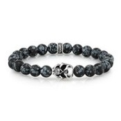 Room 101 Room 101 8mm Snowflake Agate With Sterling Silver Skull