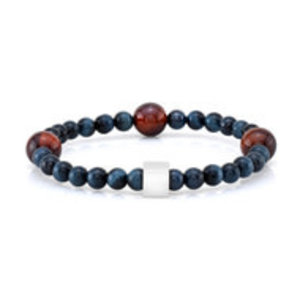 Room 101 Room 101 Bead Bracelet 6mm Blue and 10mm Red Tiger Eye