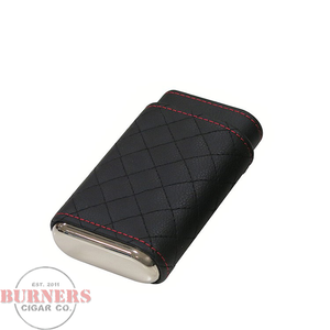 Black Quilted Leather 3 Cigar Case