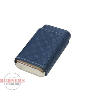 Blue Quilted Leather 3 Cigar Case