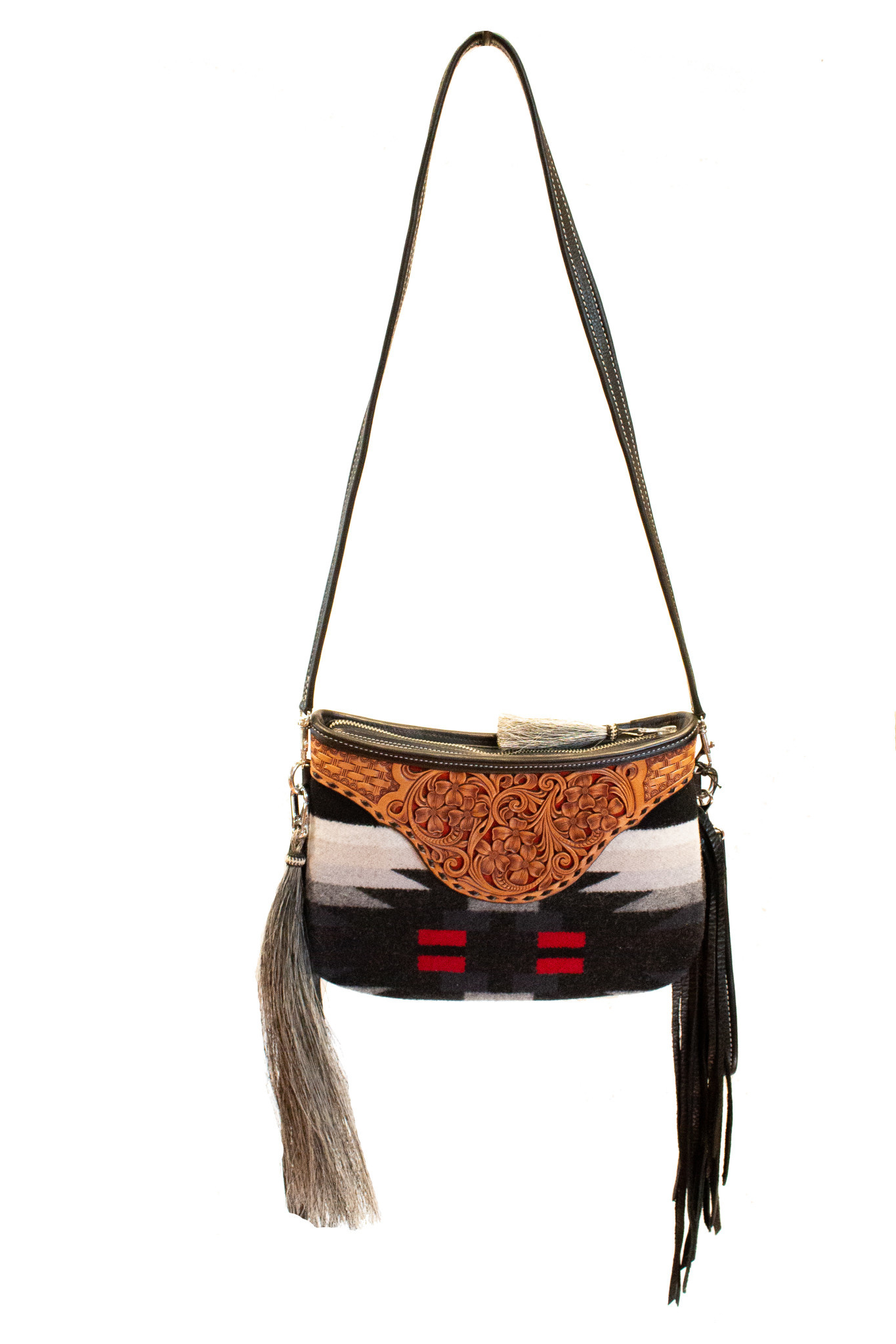 Boedeker Leather La Senorita Clutch with fringe and shoulder strap