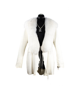 A. Tsagas Cream Deerskin & White Fox Jacket