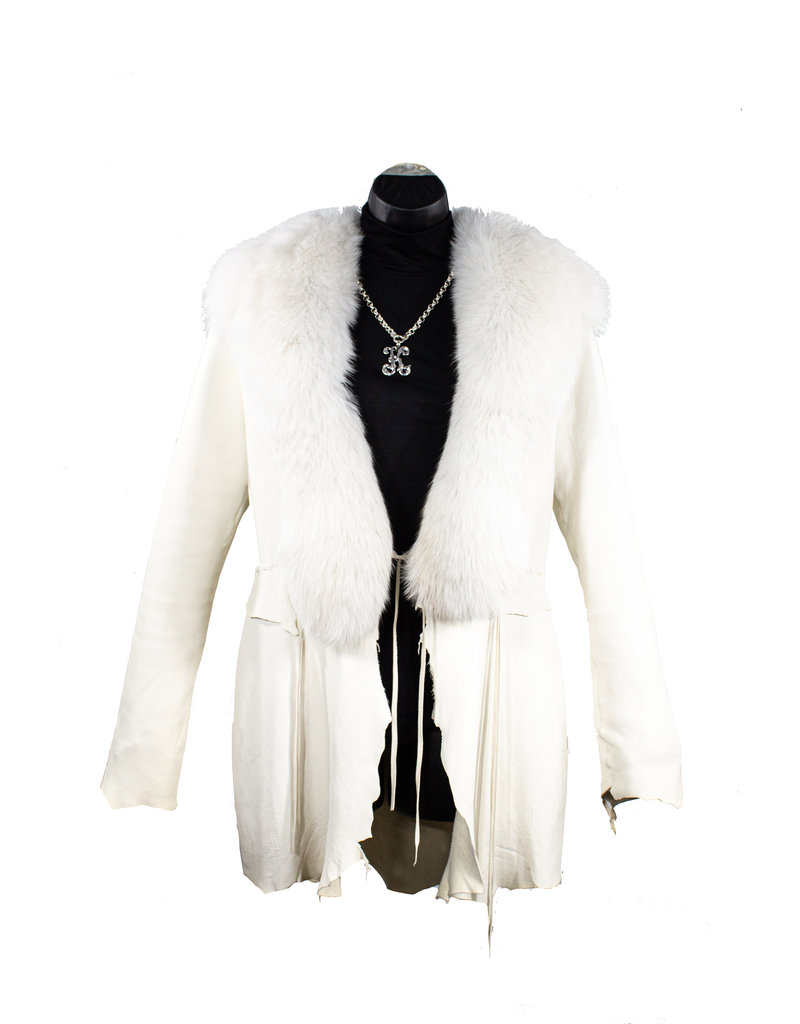 A. Tsagas Cream Deerskin & White Fox Jacket