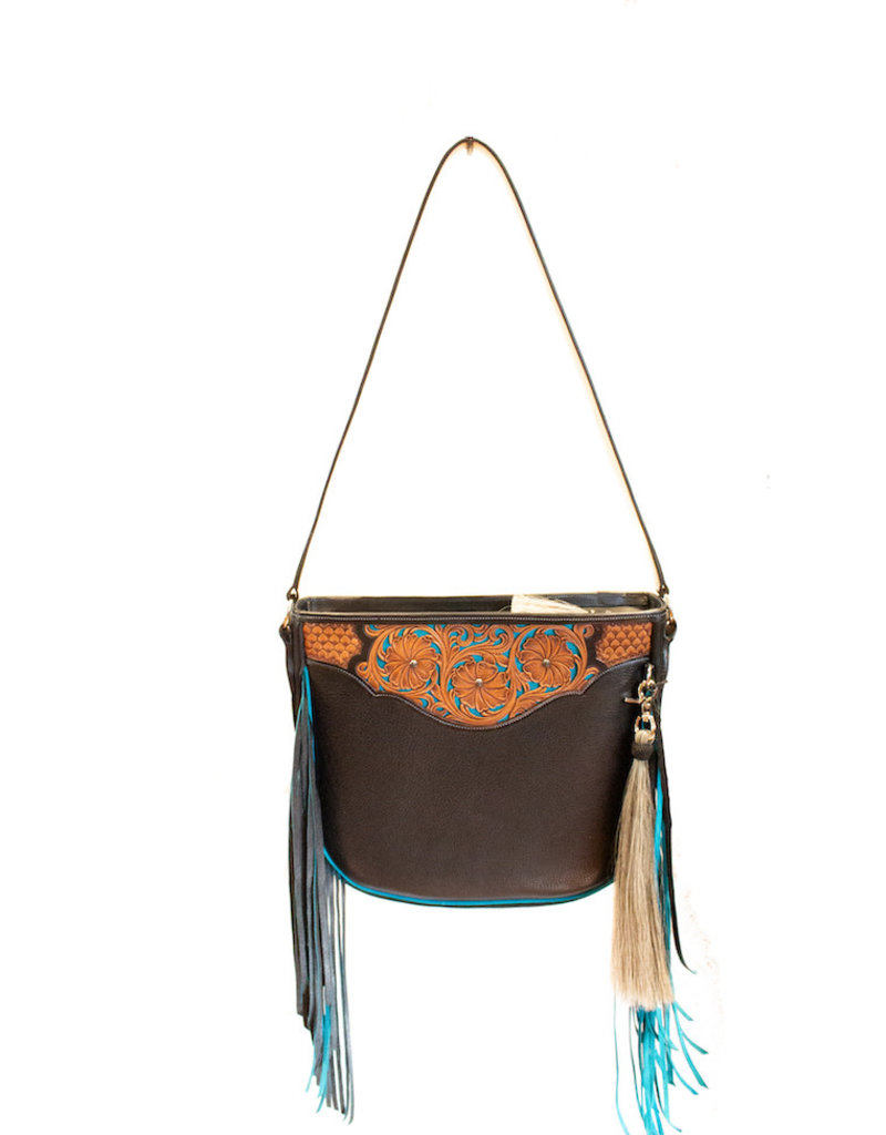 Boedeker Leather Black Lthr. Turq. Fringe, Filigree Strap