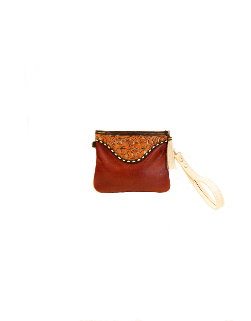 Boedeker Leather Red Lthr Wristlet, Shldr Strap