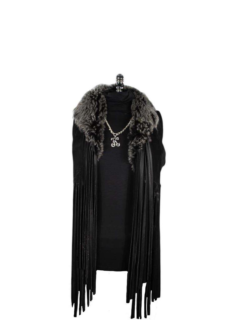 A. Tsagas Tuscan Lamb Reversible Fringe Vest