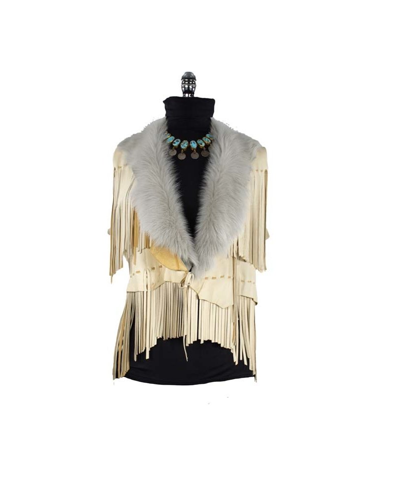 A. Tsagas Tan Deerskin with Tuscan Lamb Collar Fringed Vest
