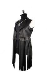 A. Tsagas Black Deerskin Long Fringe Vest