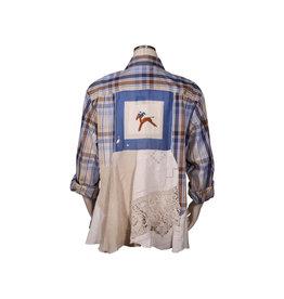 Char Designs, Inc. EJ shirt lace  1671 blue & brown plaid