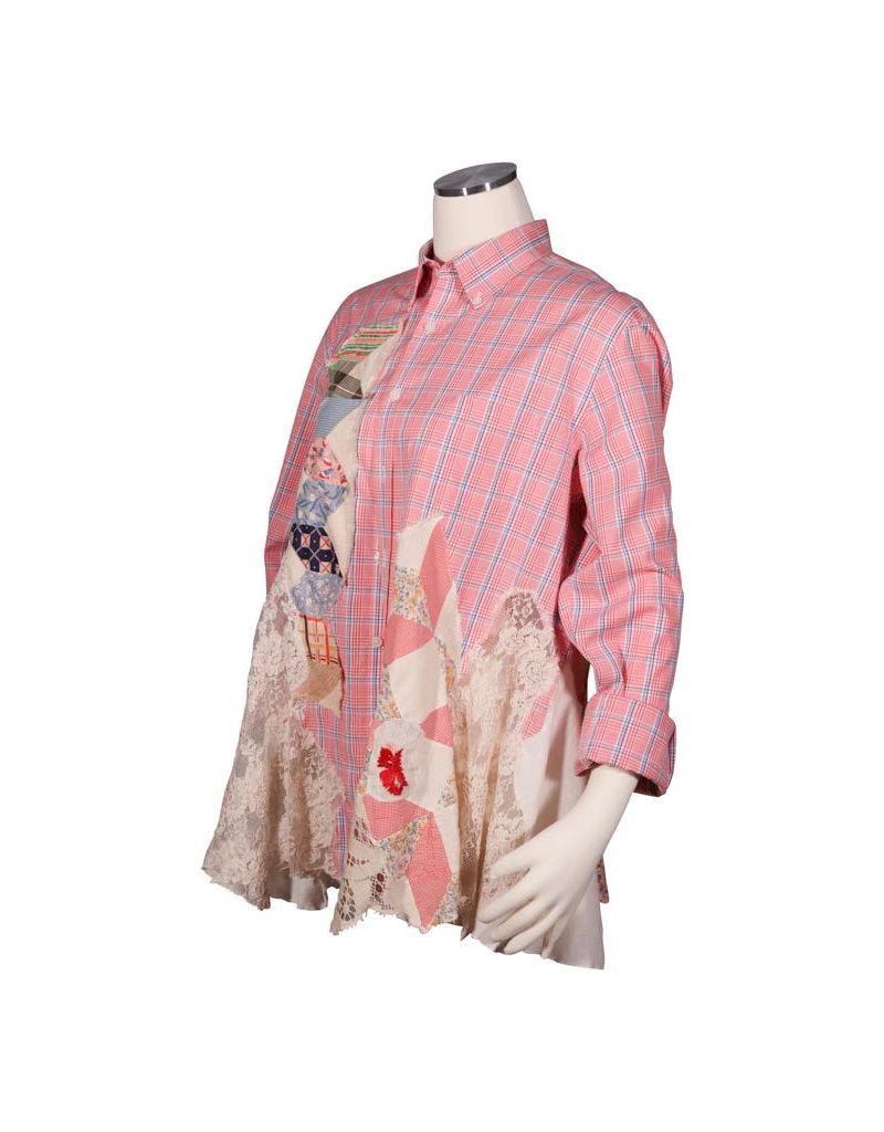 Char Designs, Inc. EJ shirt lace 1688 red wht blue check