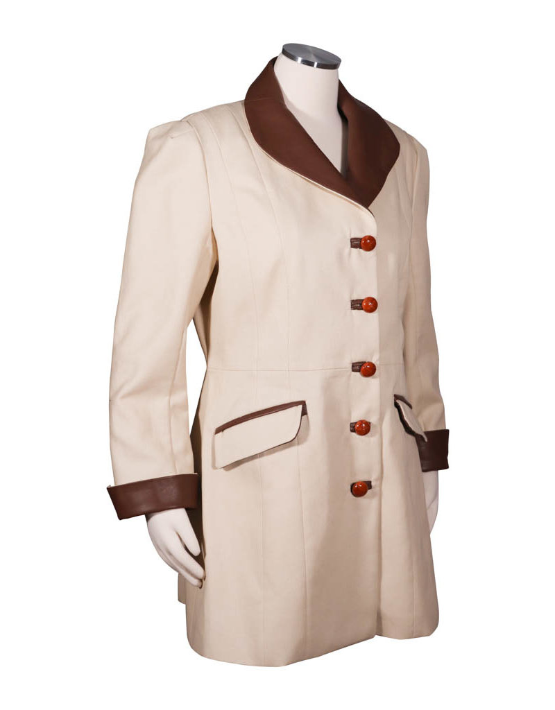 Char Designs, Inc. Vanilla Bull Denim Twill Riding Coat w/Chocolate Glove Leather Trim, vanilla lining and leather knot buttons
