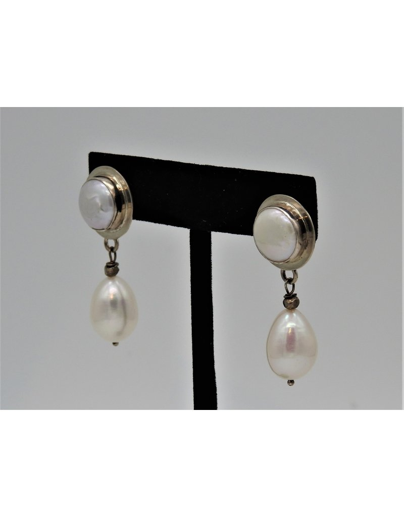 Pam Springall PS-E197C SS/Coin Pearls w/ Pearl Drop post