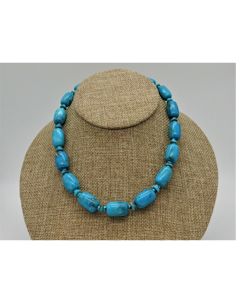 Pam Springall Nakozari Turquoise Big Barrels & Rondelles Necklace