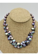 Pam Springall Lavender Rice & Kashi Pearls w/ Lolite Necklace