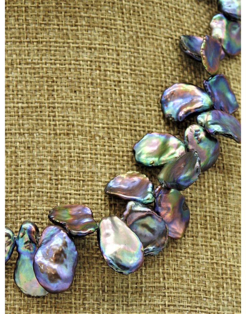 Pam Springall PS-N6C Purple, Silver, & Blue Keshi Pearls