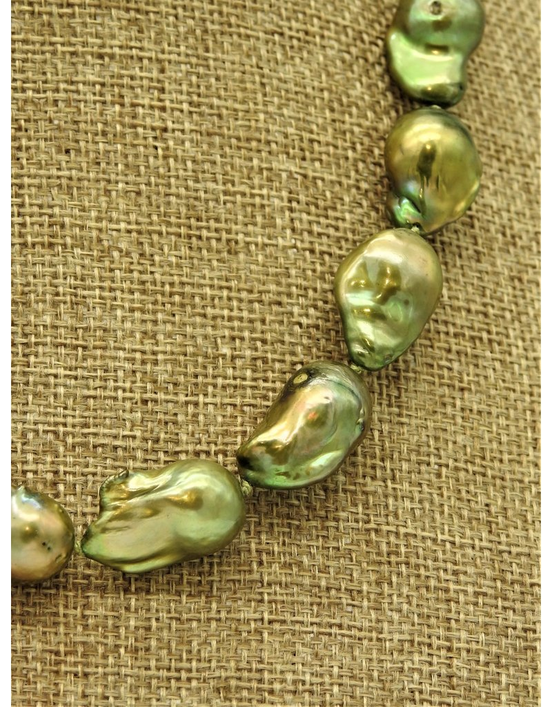 Pam Springall Lg Green Baroque Pearls Necklace