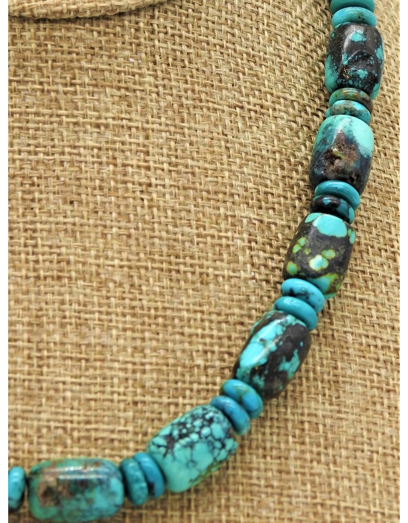 Pam Springall Chinese Turquoise Barrels & Rondells Necklace