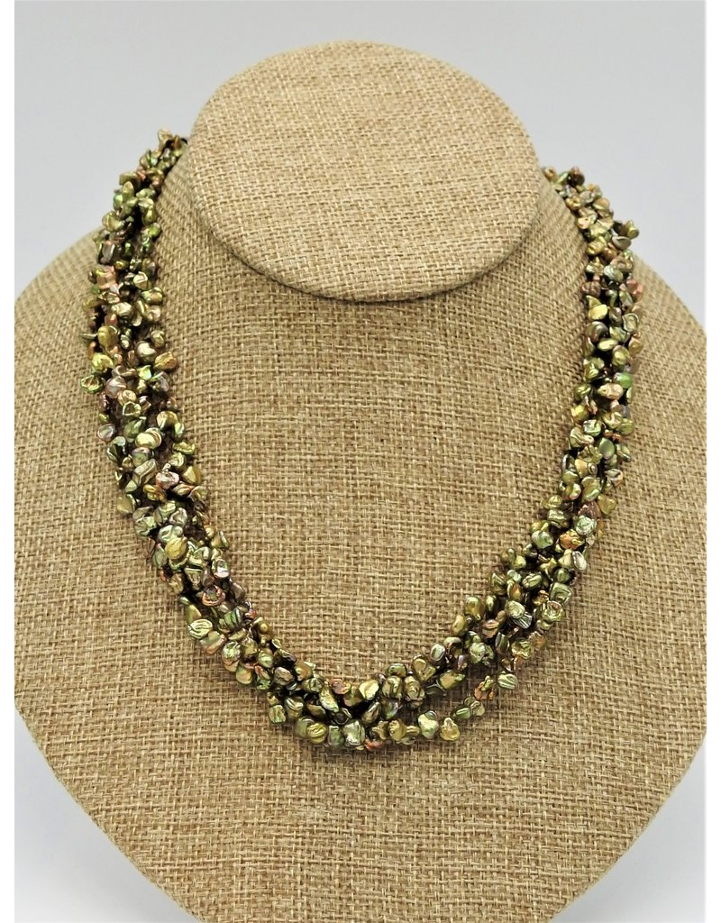 Pam Springall PS-N9C 4 Strand Tiny Green Keshi Pearls