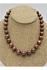 Pam Springall PS-N17C Brown Semi-Baroque Round Pearls