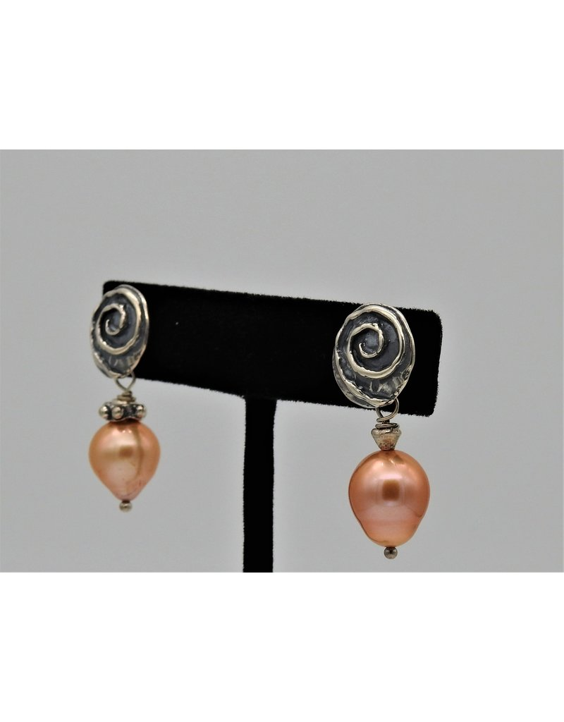 Pam Springall Lt. Bronze Pearls w/ SS Spiral Post earrings
