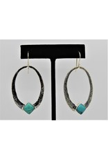 Pam Springall PS-E225C SS Ovals w/ Turquoise on wire