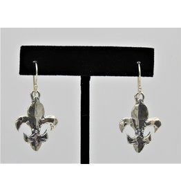 Pam Springall PS-E202C Sterling Silver Fleur De Lis on wire