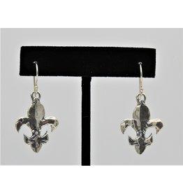 Pam Springall Sterling Silver Fleur De Lis on wire earrings