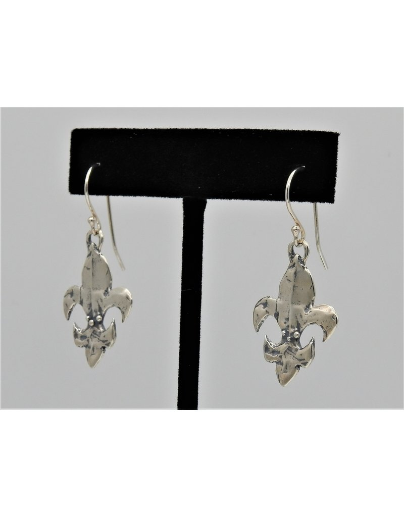 Pam Springall Sterling Silver Fleur De Lis on wire earrings