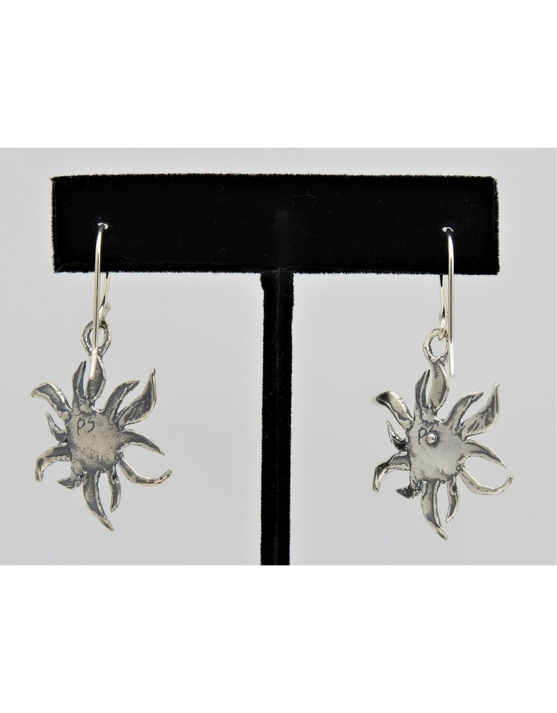 Pam Springall Sterling Silver Sun on wire earrings