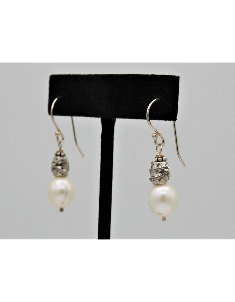 Pam Springall PS-E86C Sterling Silver w/ Wht Rice Pearls w/142B