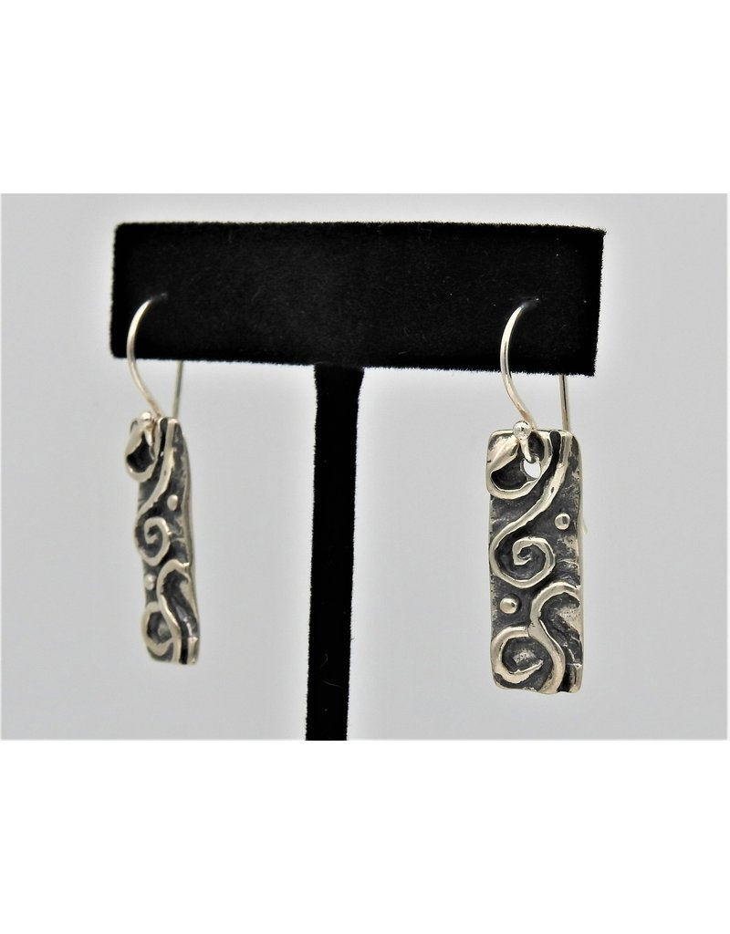 Pam Springall Silver Scroll on wire earrings