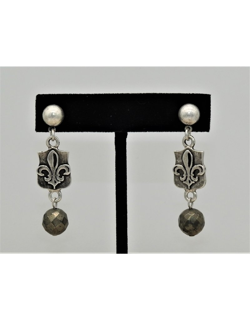 French Kande Antq Brass Clad Fleur de lis & Pyrite Dangle Earrings