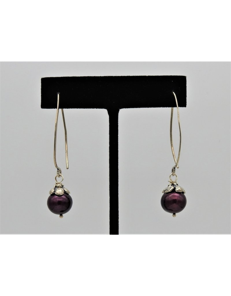 Pam Springall Cranberry Pearls on long wire earrings