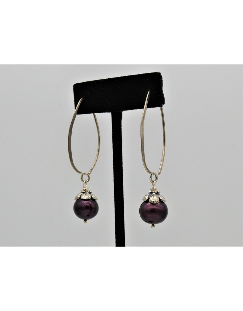 Pam Springall PS-E209C Cranberry Pearls on long wire