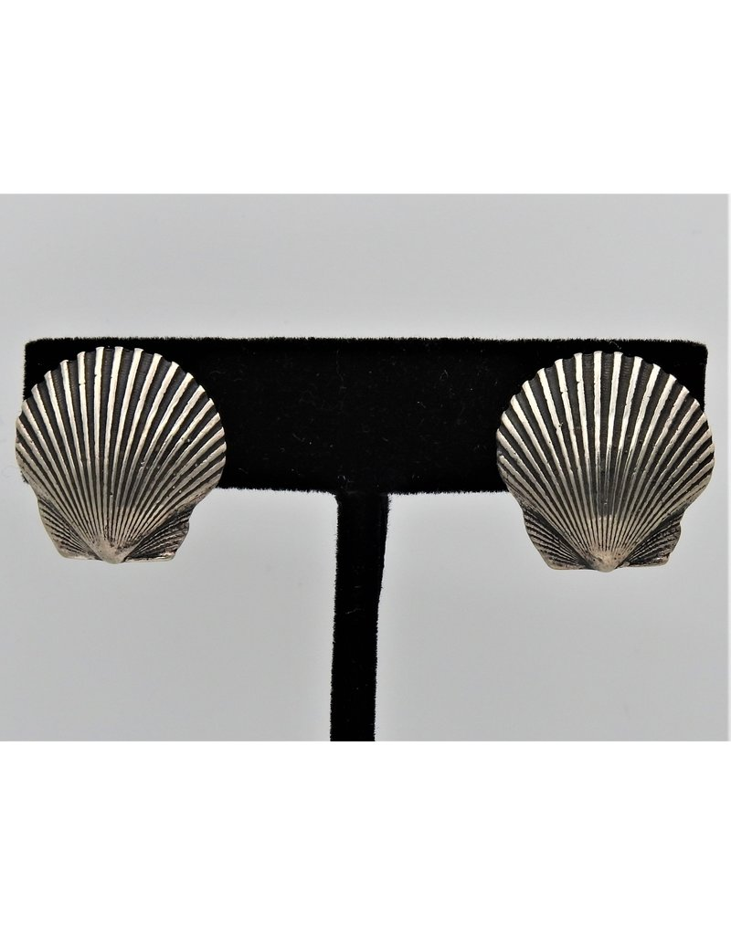 Pam Springall Sterling scallop shells earrings clips