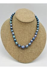 Pam Springall Blue Rice Pearls Necklace